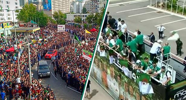 """استقبال جماهيري حافل لـ""""الخضر"""" في الجزائر"""