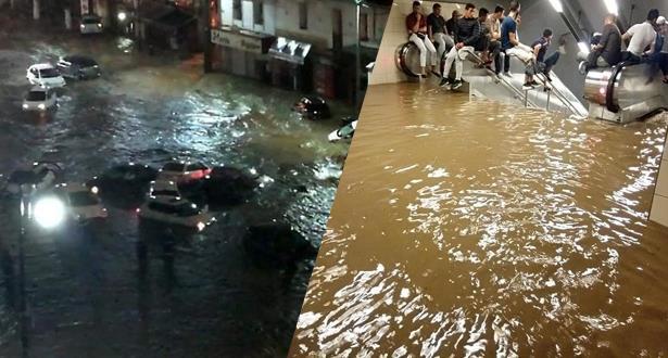 فيديو .. أمطار غزيرة تتسبب في فيضانات بالجزائر
