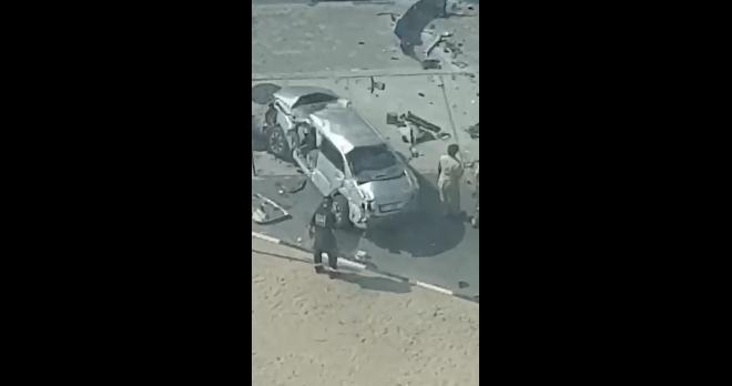 بالفيديو..سيارة تسقط من علو 3 طوابق في دبي